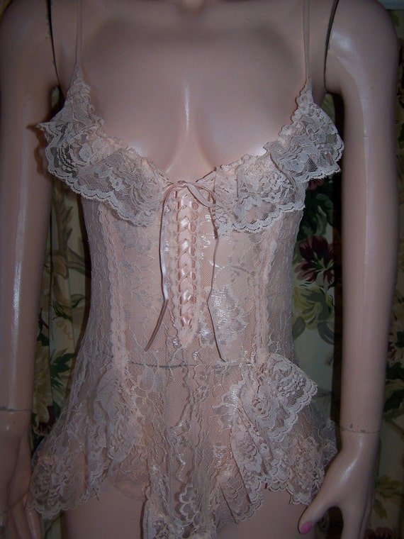 80s Lace Teddy Peek A Boo See Thru Frill By Greenmarketvintage