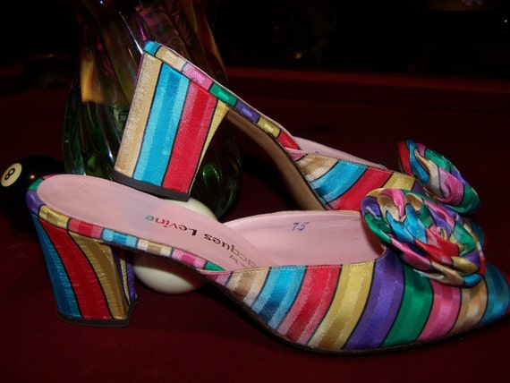 Designer Shoes Stripe Couture ColorfuL Rainbow mule slipper slip on 9 N