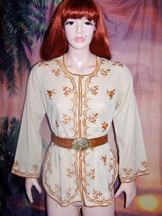 Boho Blouse Embroidered Ivory n Caramel Ethnic shirt size M / L