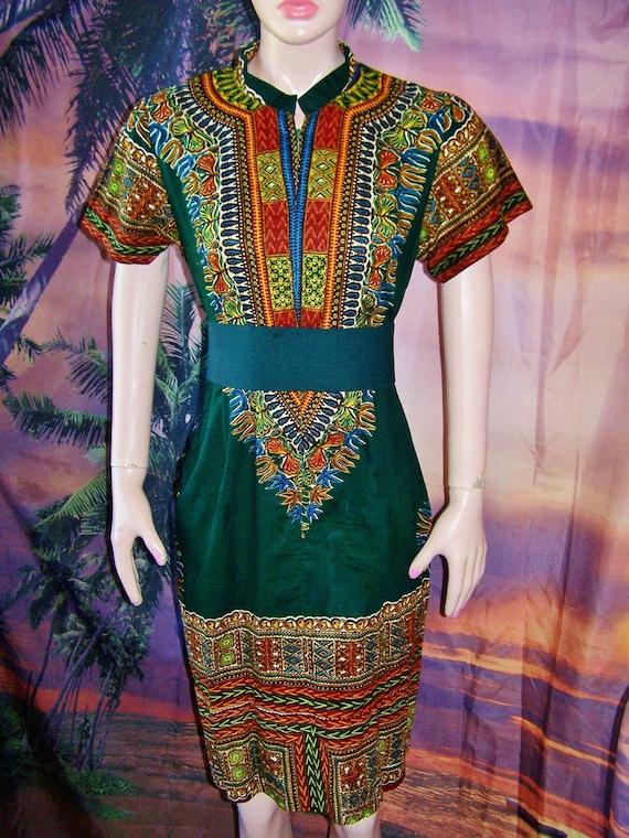 Sold 2 Elle Tribal Dress Dashiki Earth Jewel tones size M
