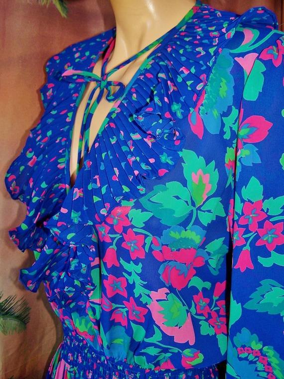 Designer Dress Peplum Freis Romance Gypsy in Blue Violet size M