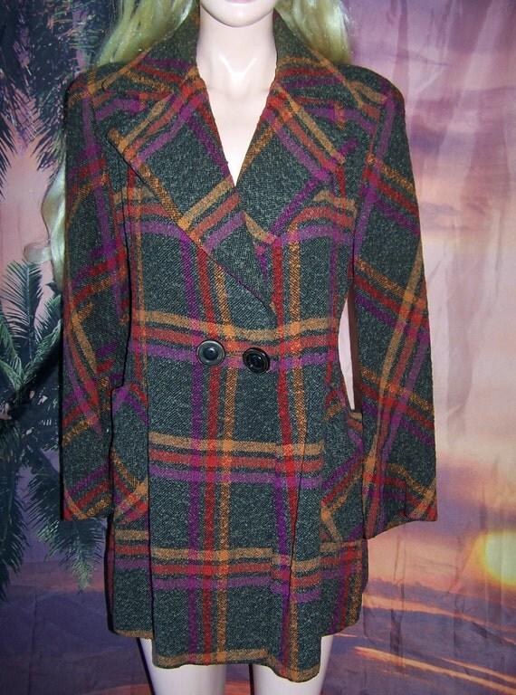 SALE, 60s Coat, Plaid coat, 60s Mod Coat, Coal tweed Coat, size M / L