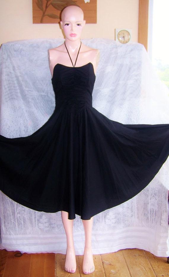 LBD Black Dress Full skirted strapless or Halter tied size M