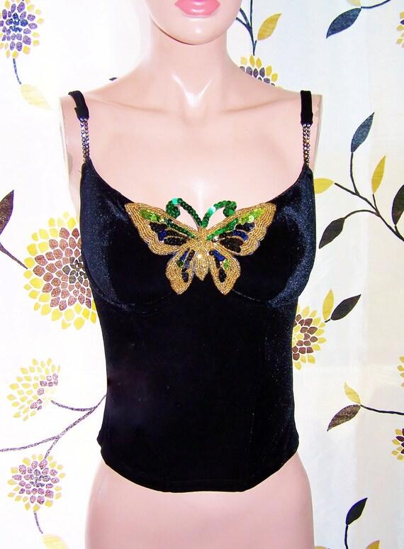 Velvet Butterfly Corset Top size M Beaded