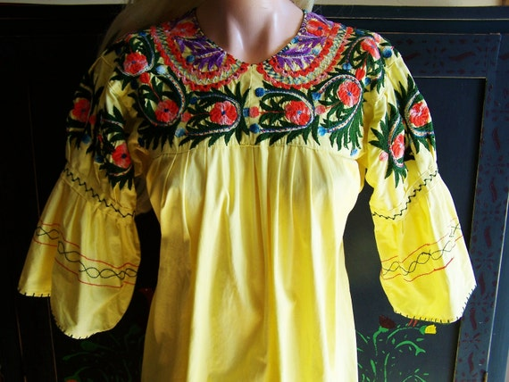 Mexican Dress Embroidered Ethnic Yellow Maxi size S