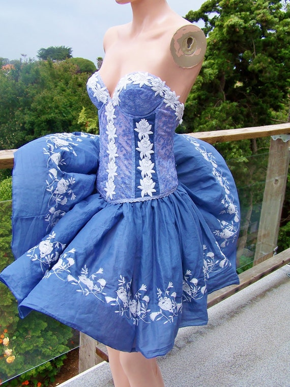 Corset Dress Blossoms in the Breeze UPcycle Bustier Dress size M / L, 36 B