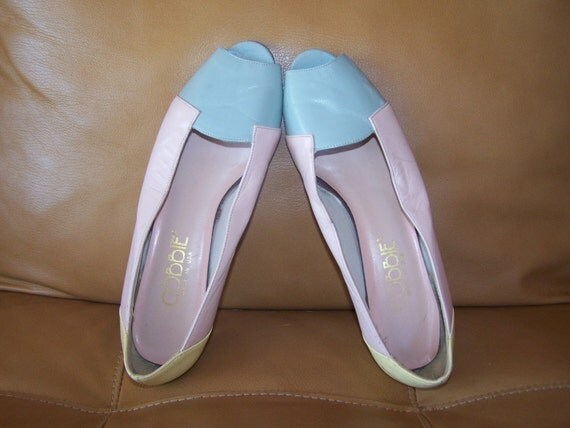 8 shoe pastel colorblock pumps Summer fashion CLEARANCE
