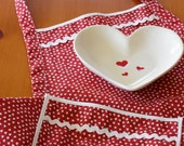 SALE 50% Off -- Everyday Flair Queen of Hearts Apron -- Red and White