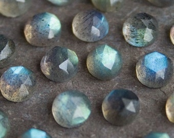 6mm TWO Rose Cut Round Labradorite Cabochon | 6mm Labradorite Cabochon | Rose Cut labradorite | Faceted Labradorite Cabochon