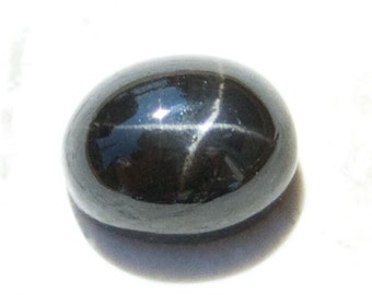 Shiny Oval Black Star Diopside Cabochon - 8mm x 10mm