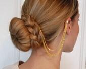 Gold Chain Hair Comb and Ear Cuff