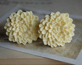 1 inch (25mm) Ivory Buttercream Flower Plugs for stretched ears.