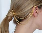 Mini Gold Chain Hair Comb and Ear Cuff