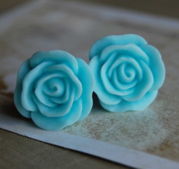 0g (8mm) Blue Raspberry Rose Flower Plugs for Gauged Ears
