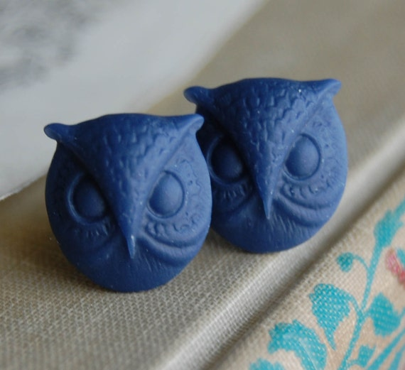 2g (6mm) Navy Blue Owl Head Plugs for stretched ears
