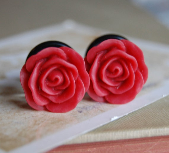 """9/16"""" (14mm) Strawberry Red Rose Flower Plugs for stretched ears"""