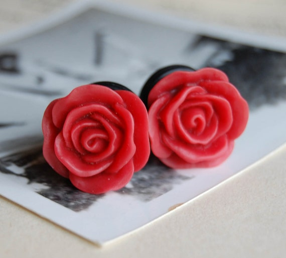half inch (12mm) Bright Red  Rose Flower Plugs for stretched ears