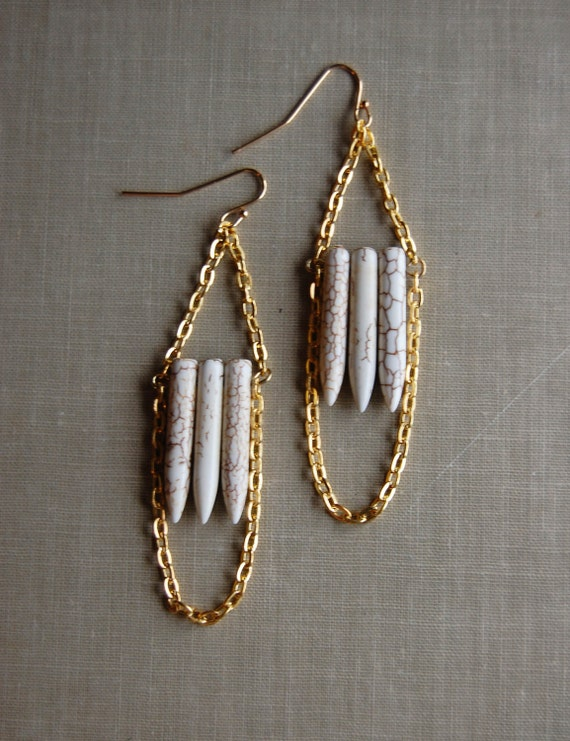 ivory and gold natural howlite stone point drop earrings