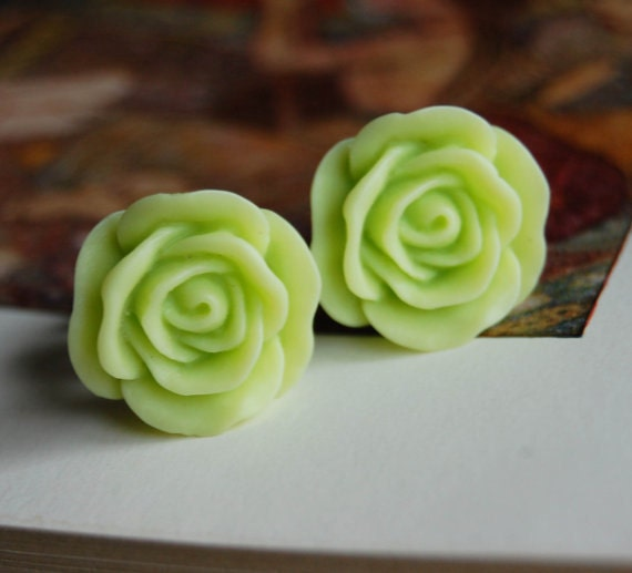 7/16 inch (11mm) Lime Green Rose Flower Plugs-for stretched ears