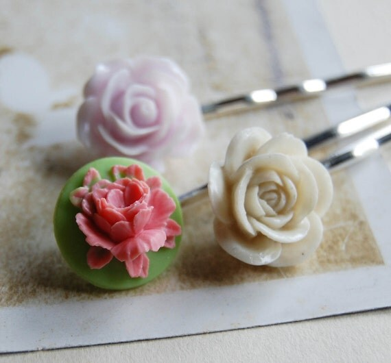 floral bobby pin trio set.