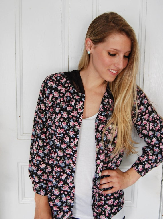 Vintage Floral Chiffon Hooded Blouse
