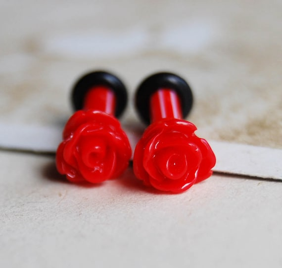 8g (3mm) Red Rose Flower Bud Plugs for Gauged Ears