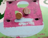 Recycled Skateboard Itty Bitty Bamboo Stud Earrings