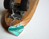 Recycled Skateboard Heart Necklace-Teal Deal
