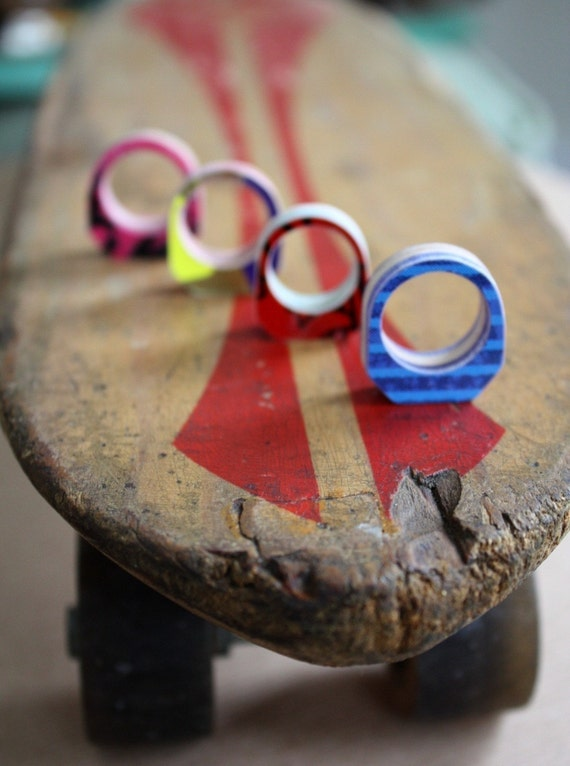 Recycled Skateboard Bling Bling Custom Ring