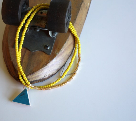 Recycled Skateboard  Necklace Triangle Cyclops Collection-Yellow