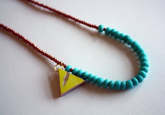 Recycled Skateboard  Necklace Triangle Cyclops Collection-Copper and Aqua