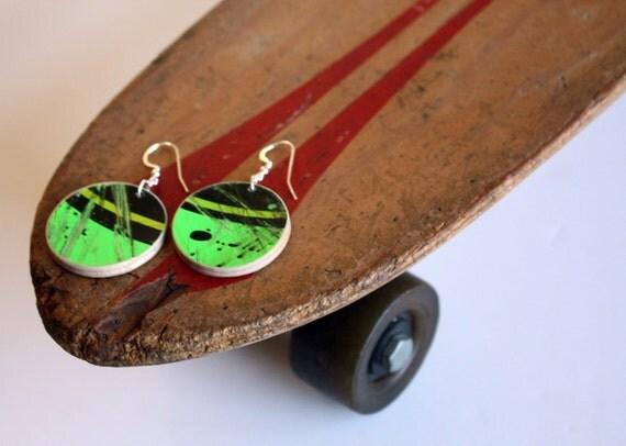 Recycled Skateboard Earring Flats-Lime Green Like A Machine
