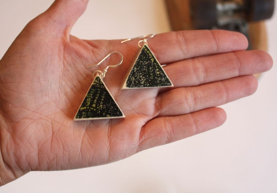 Recycled Skateboard Earring Triangle Flats-Tiger Style