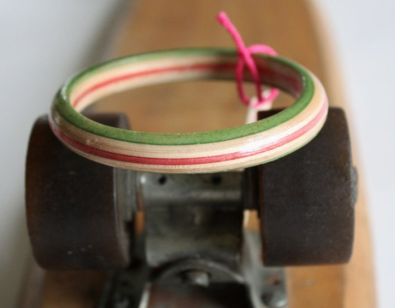 Recycled Skateboard Smooth Rail Bangle-Wish I Had a Watermelon