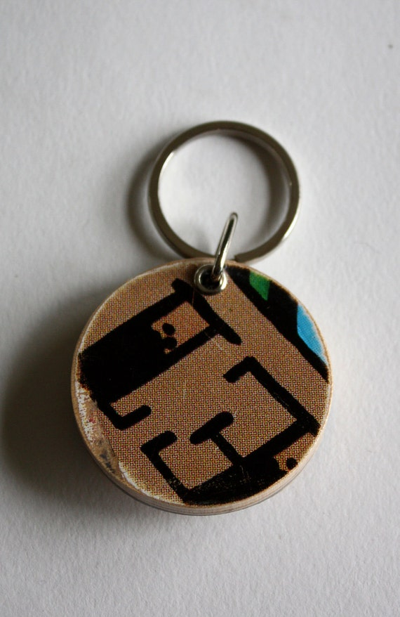 Recycled Skateboard Deep End Keychain-E is for Ever