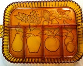 Vintage Indiana Glass Co. Amber Gold Relish Tray