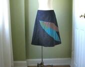 Dark Denim Feathery Skirt