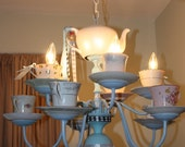 OOAK Alice in Wonderland themed tea cup Chandelier- whismical and fun-ON SALE