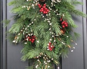 Reserved Listing for lmcaraw - Christmas Pine, Berries and Pinecones Swag - Special Sale Today