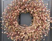 Fall Berry Wreath, Blackberry Pie Berry Wreath for Year Round Decor, Shabby Cottage Decor, Fall Country Decor,Home Furnishings
