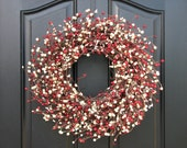 Red and White Valentine Wreath - Valentine's Day Wreath - Kisses and Hugs Berry Wreath - Faux Red Berry Wreath, Holiday Berry Wreath