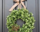 Boxwood Wreath - Door Wreaths - Spring Wreath - Burlap Ribbon - Dragonfly - Butterfly Decor