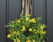 Spring Wreath - Boxwood, Fern, Forsythia and Burlap Bow for Year Round