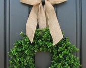 FRONT DOOR WREATHS, Boxwood Wreaths, Door Wreaths, Faux Boxwood Wreath, Boxwood and Burlap