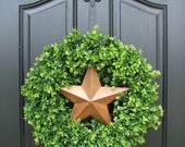 Rustic Star - Boxwood Wreath - Door Wreaths - Year Round Wreaths - Boxwood Decorations