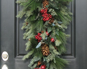 Christmas Swag for Door, Door Swags, Christmas Wreath, Christmas Door Wreath, Pine Wreath With Red Berries