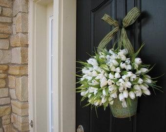 Spring Tulips - Farmhouse Tulips - Front Door Decor