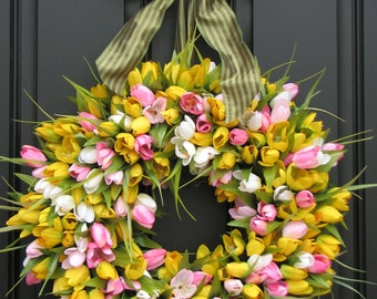 Easter Tulips - Spring Tulips - Spring Wreath - Tulips Wreath