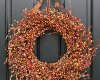 Fall Wreath - Pumpkin Pie - Orange Berry Wreath - Autumn Decorating