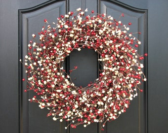 HOLIDAY Berry Wreath - Red and White Holiday Wreath - CHRISTMAS WREATH - Faux Red Berry Wreath - Christmas Berry Wreath